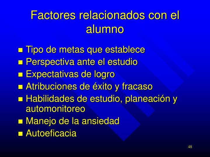 Factores relacionados con el alumno