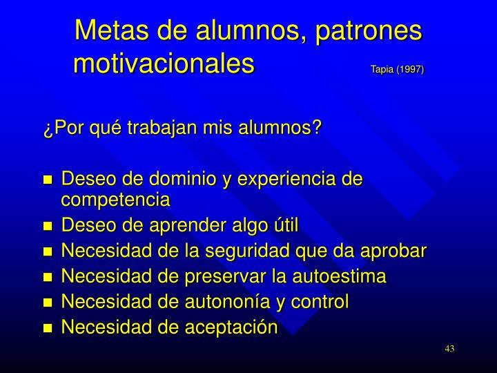 Metas de alumnos, patrones motivacionales