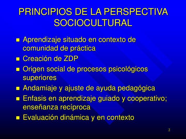 PRINCIPIOS DE LA PERSPECTIVA SOCIOCULTURAL