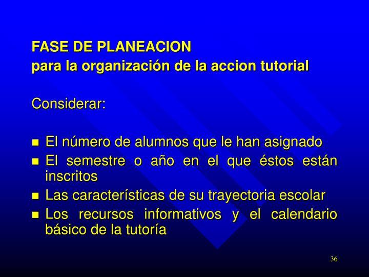 FASE DE PLANEACION
