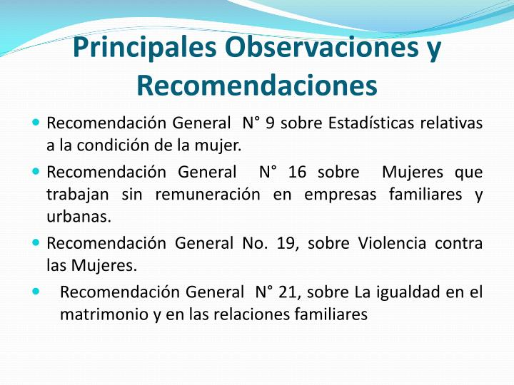 Principales Observaciones y Recomendaciones