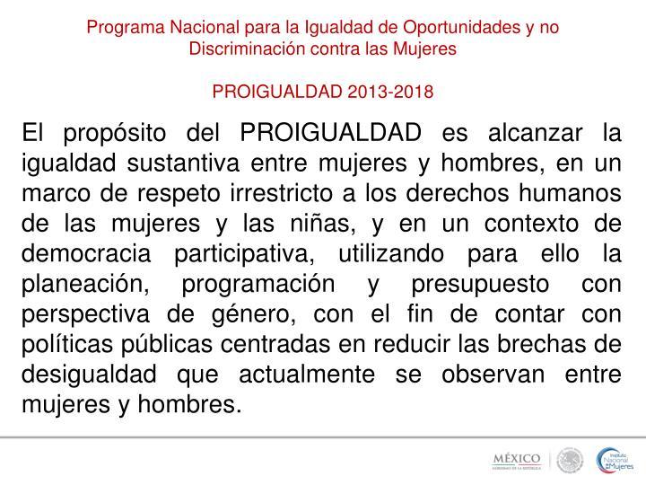 Programa Nacional para la Igualdad de Oportunidades y no Discriminación contra las Mujeres