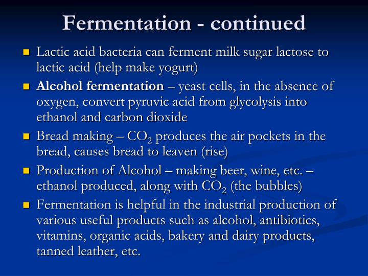 Fermentation - continued