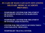 in case of mass casualty situations military medical academy provides
