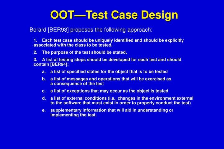OOT—Test Case Design