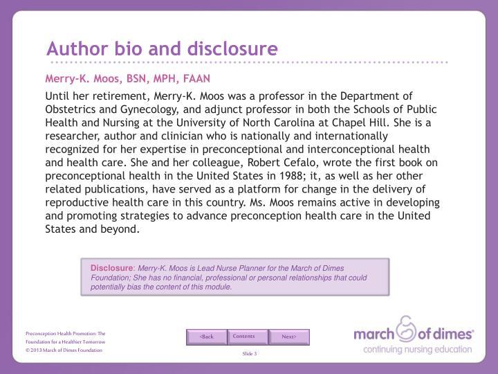 Author bio and disclosure