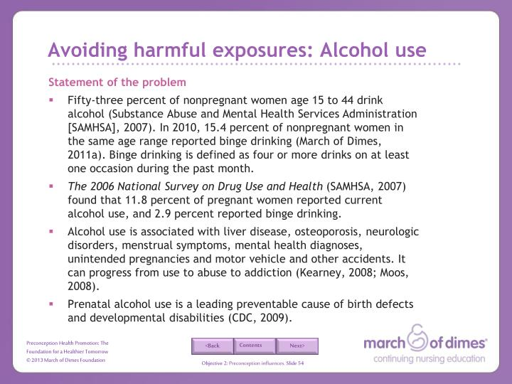 Avoiding harmful exposures: Alcohol use