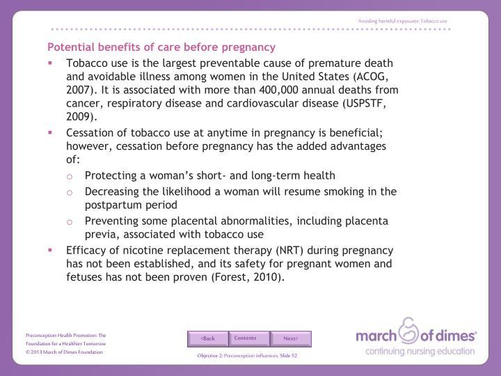 Avoiding harmful exposures: Tobacco use
