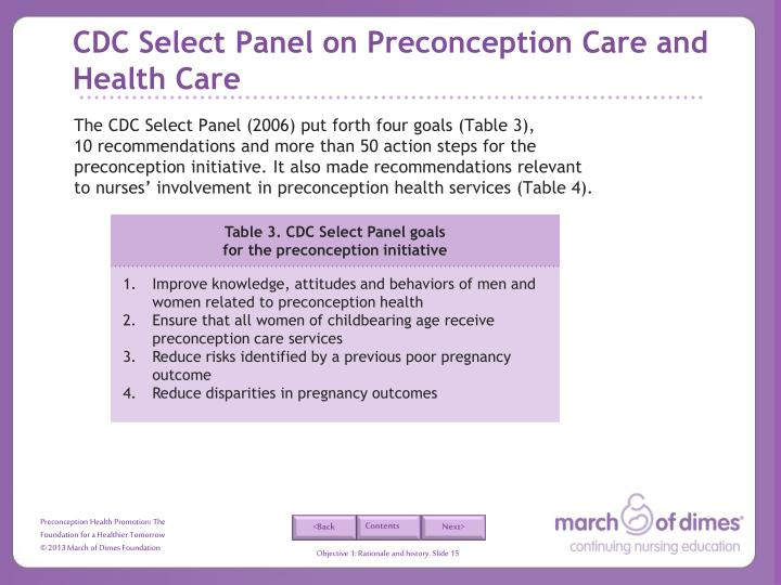 CDC Select Panel on Preconception Care and Health Care