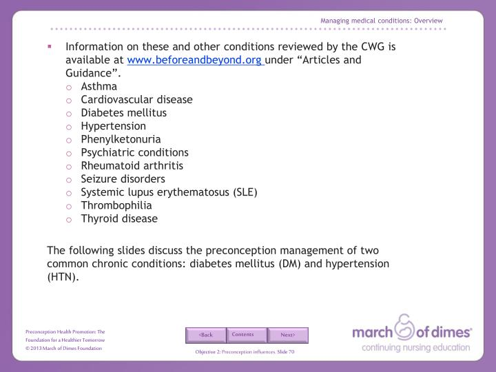 Managing medical conditions: Overview