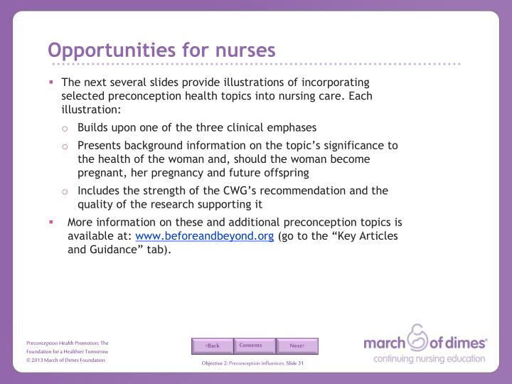 Opportunities for nurses