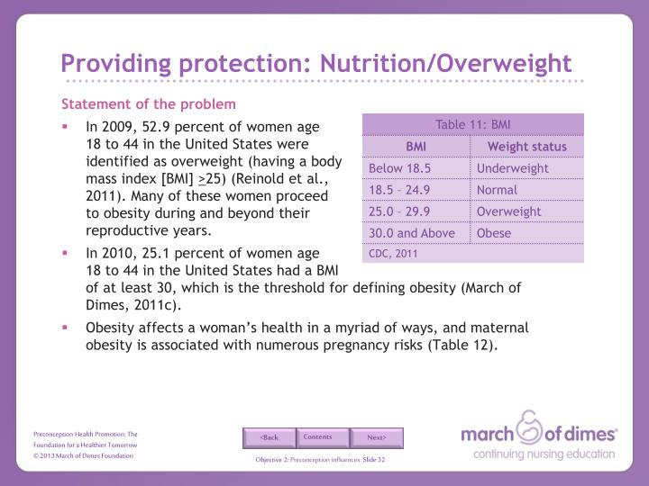 Providing protection: Nutrition/Overweight