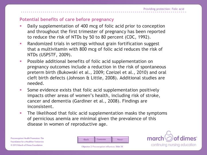 Providing protection: Folic acid