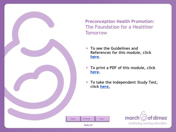 Preconception Health Promotion: