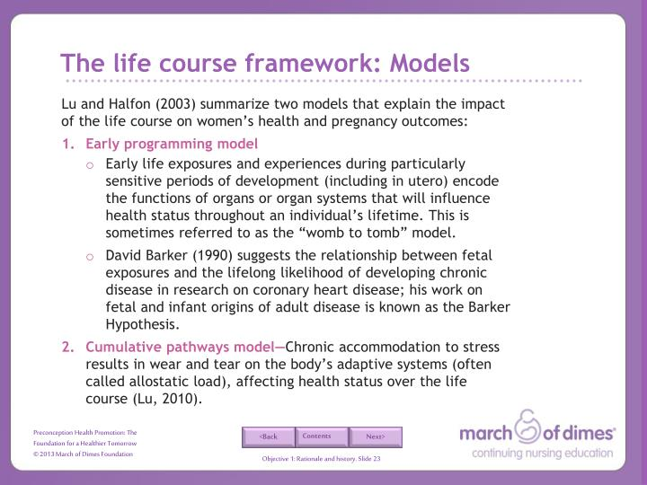 The life course framework: Models