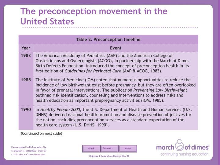The preconception movement in the