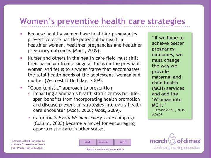 Women's preventive health care strategies