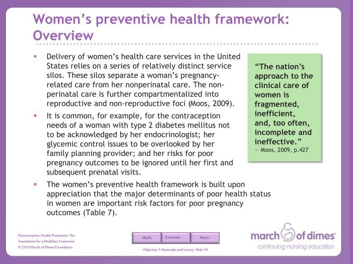 Women's preventive health framework: Overview