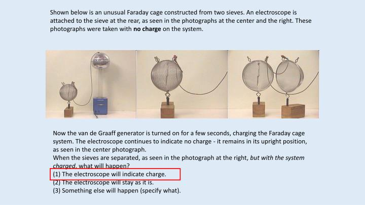 Shown below is an unusual Faraday cage constructed from two sieves. An electroscope is attached to the sieve at the rear, as seen in the photographs at the center and the right. These photographs were taken with