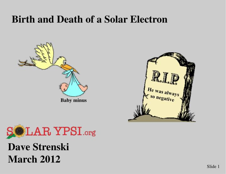 Birth and Death of a Solar Electron