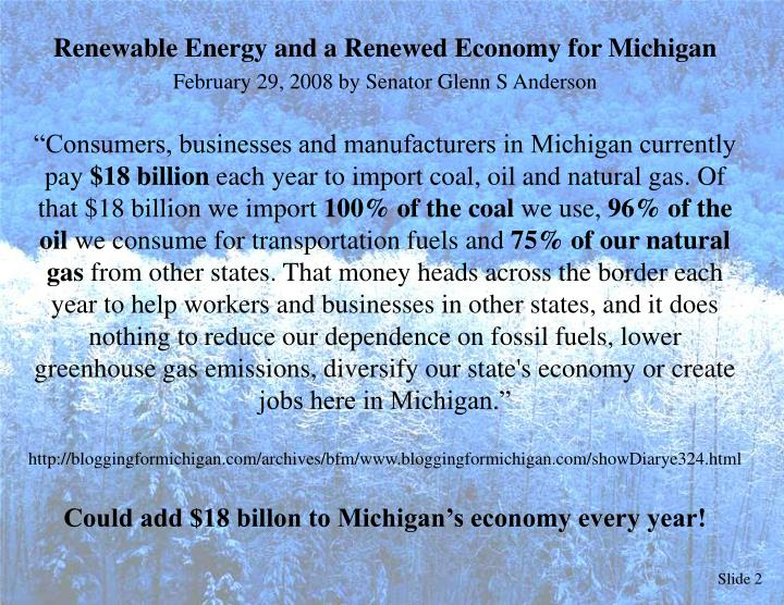 Renewable Energy and a Renewed Economy for Michigan