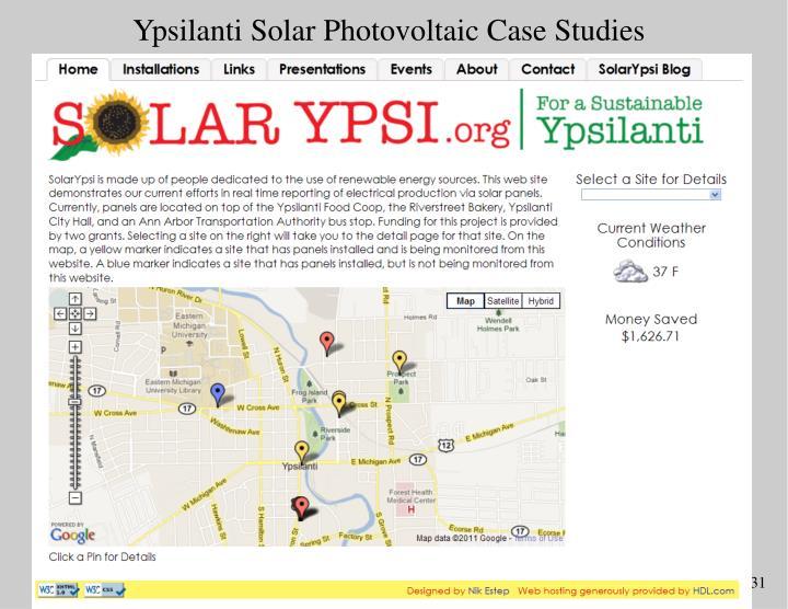 Ypsilanti Solar Photovoltaic Case Studies