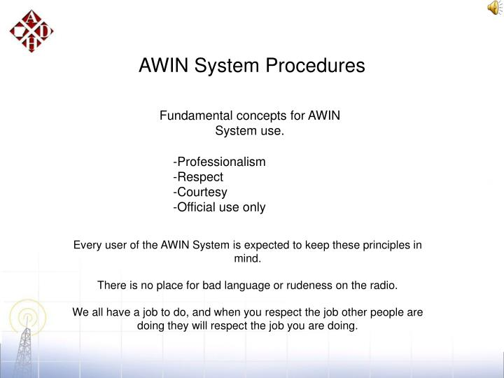AWIN System Procedures