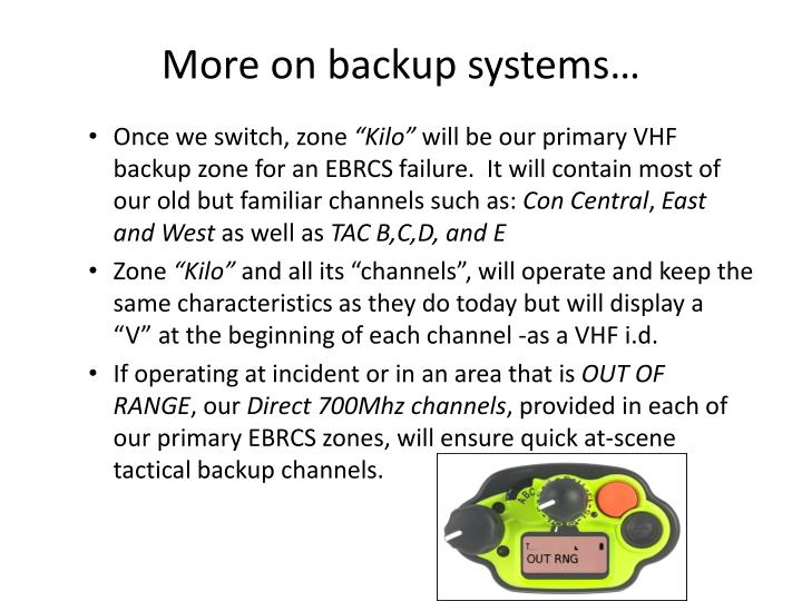 More on backup systems…