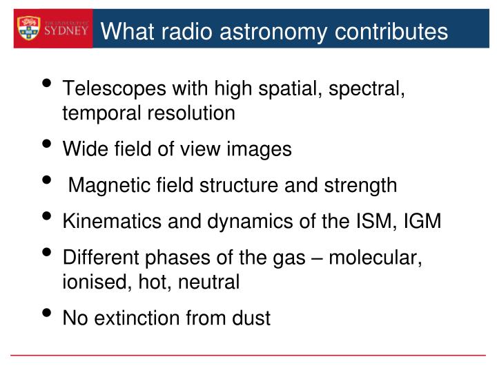 What radio astronomy contributes