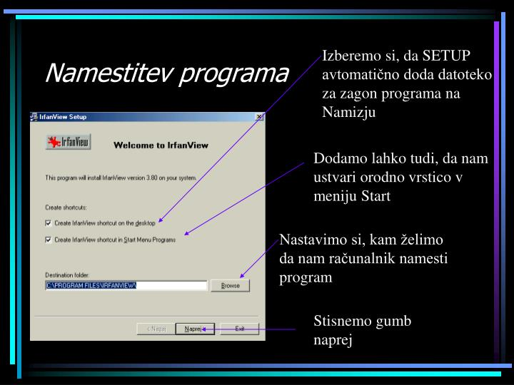 Namestitev programa
