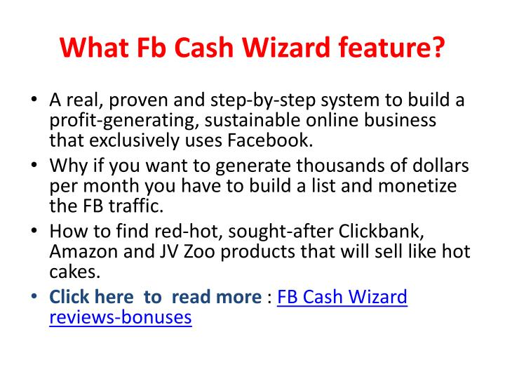 What fb cash wizard feature