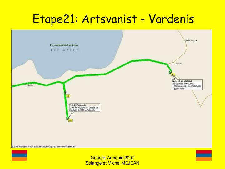 Etape21: Artsvanist - Vardenis