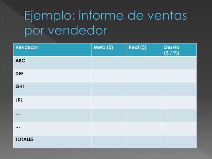 Ejemplo: informe de ventas por vendedor