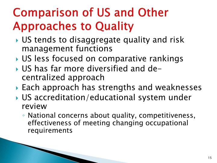 Comparison of US and Other Approaches to Quality
