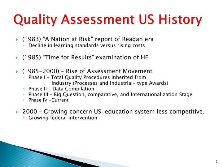 Quality Assessment US History