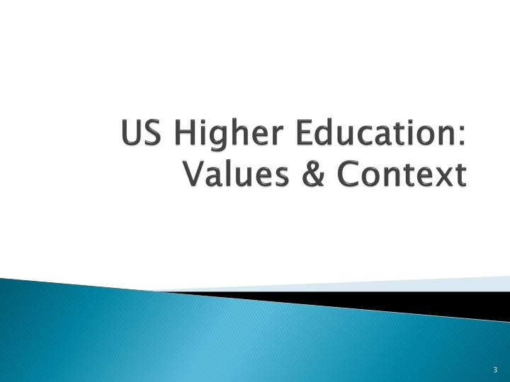 Us higher education values context