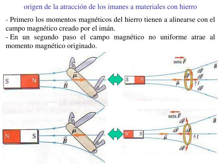 origen de la atracción de los imanes a materiales con hierro