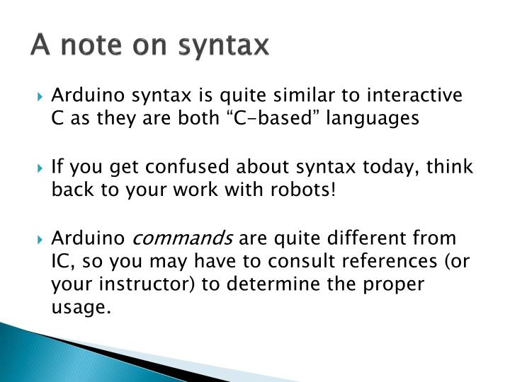 A note on syntax