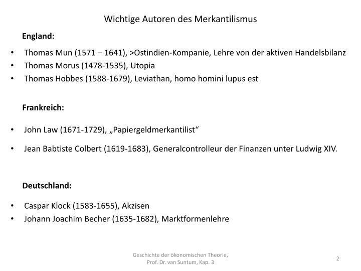 Wichtige Autoren des Merkantilismus