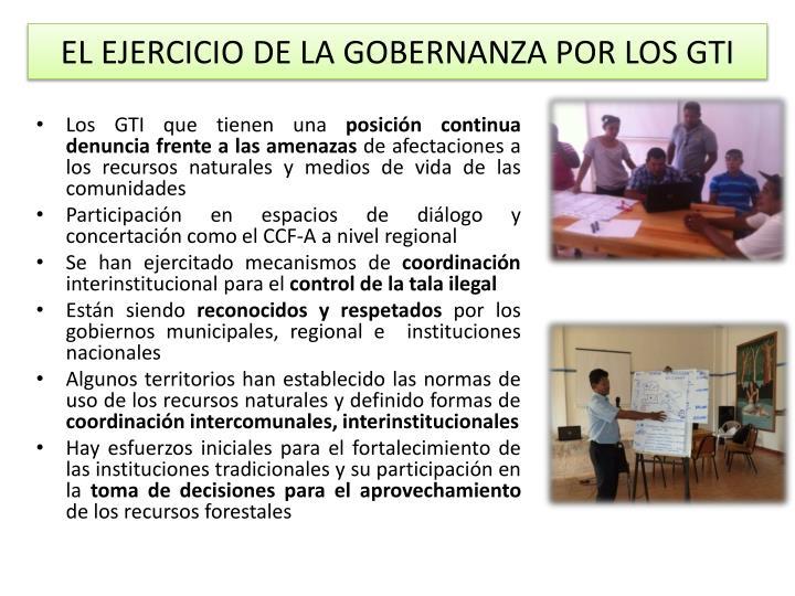 EL EJERCICIO DE LA GOBERNANZA POR LOS GTI