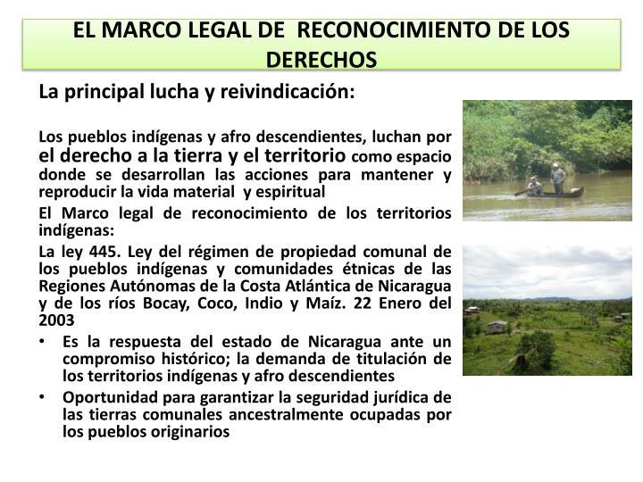 EL MARCO LEGAL DE  RECONOCIMIENTO DE LOS DERECHOS