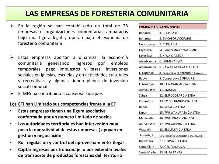 LAS EMPRESAS DE FORESTERIA COMUNITARIA