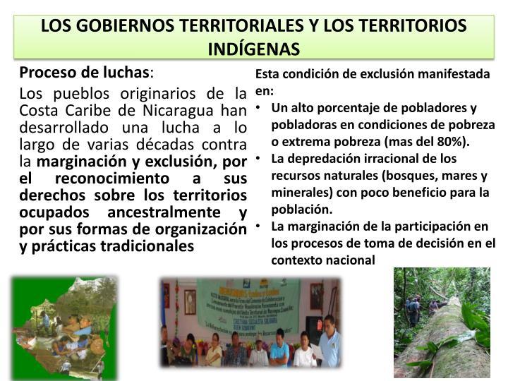 LOS GOBIERNOS TERRITORIALES Y LOS TERRITORIOS INDÍGENAS