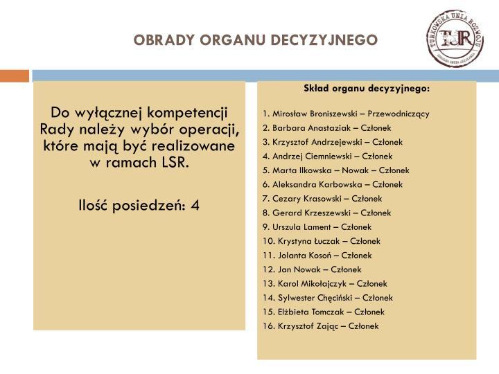 OBRADY ORGANU DECYZYJNEGO