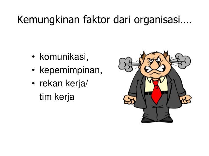 Kemungkinan faktor dari organisasi….
