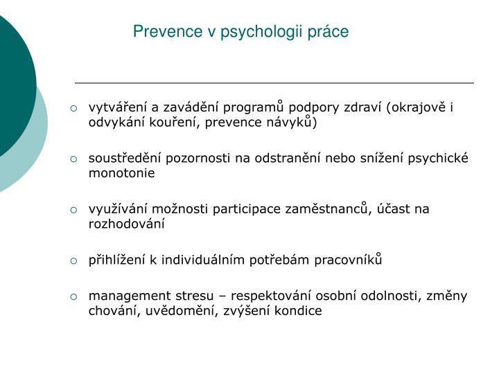 Prevence v psychologii práce