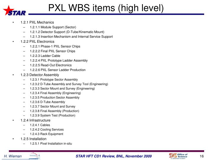 PXL WBS items (high level)