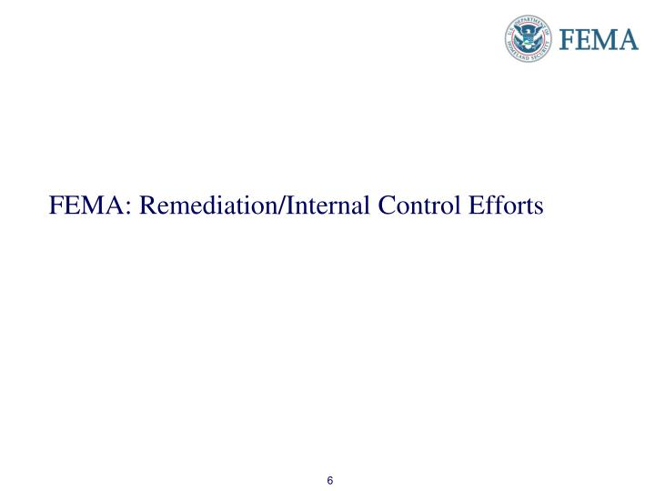 FEMA: Remediation/Internal Control Efforts