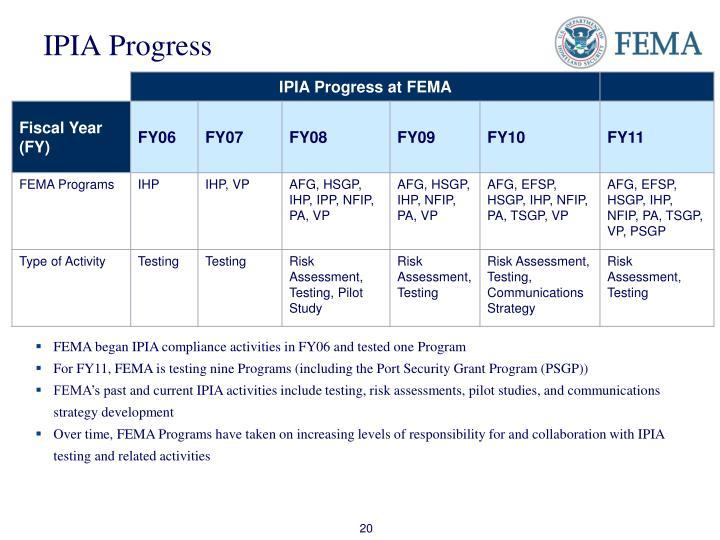IPIA Progress