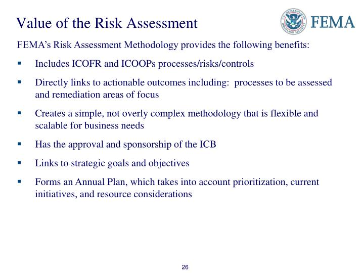 Value of the Risk Assessment